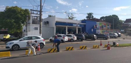 Prefeitura coloca sinalização horizontal na Lautert Filho
