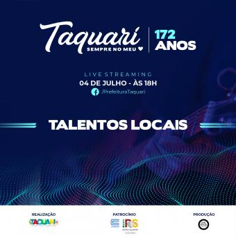 Para comemorar os 172 anos do município, Prefeitura de Taquari realizará a live